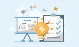 Affärsledning, idé och strategibegreppsvektor Illustrati vektor illustrationer