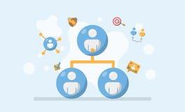 Affärsledning, samarbetssammanlänkning och förhållandebegrepp vektor illustrationer