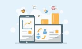 Affärsledning, tillväxtrapport och teknologiapplikation Ve vektor illustrationer