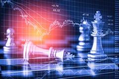 Affärslek på den finansiella digitala aktiemarknaden och schackbackgr Royaltyfria Bilder