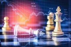 Affärslek på den finansiella digitala aktiemarknaden och schackbackgr Arkivfoto