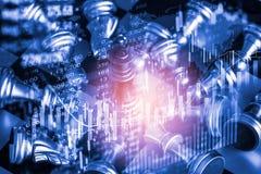 Affärslek på den finansiella digitala aktiemarknaden och schackbackgr Royaltyfria Foton