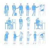 Affärslinje folktecken Kvinna för affärsman i det företags kontoret, yrkesmässig folkvektoruppsättning royaltyfri illustrationer