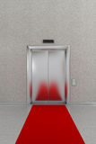 Den stängda hissen med rött mattar stock illustrationer