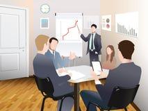Affärsmän diskuterar försäljningstillväxt i anställda för gruppen för täppan för shower för kontorsdiagramaffärsmannen ombord på  royaltyfri illustrationer