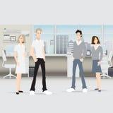 Affärsmän diskuterar försäljningstillväxt i anställda för gruppen för täppan för shower för kontorsdiagramaffärsmannen ombord på  stock illustrationer