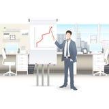 Affärsmän diskuterar försäljningstillväxt i anställda för täppan för shower för kontorsdiagramaffärsmannen ombord på arbete vektor illustrationer
