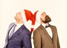 Affärsmän med allvarliga framsidor ser upp Kollegor med skägg royaltyfri foto