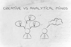 Affärsmän med att kontrastera reaktioner som är idérika vs analytiskt M Arkivbilder