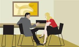 Affärsmän och affärskvinna i ett möte Royaltyfria Foton
