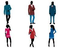 Affärsmän och affärskvinnakontur stock illustrationer