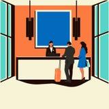 Affärsmän och affärskvinnor kontrollerar in på det moderna hotellet stock illustrationer