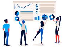 Affärsmän och affärskvinnor pekar på rapportinfographicsen på grafen och diagrammet för kontorsdiagrambräde royaltyfri illustrationer