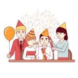 Affärsmän och personal till ett roligt företags parti stock illustrationer