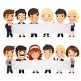 Affärsmän som framlägger det tomma horisontalbanret stock illustrationer