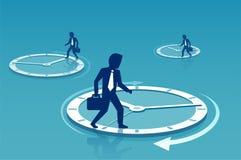 Affärsmän som går på cirklar av tid royaltyfri illustrationer