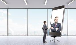 Affärsmän som har online-konferensen Fotografering för Bildbyråer