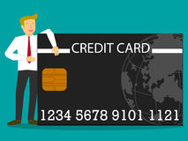 Affärsmän som omfamnar med kreditkortar royaltyfri illustrationer