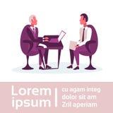 Affärsmän som sitter kommunikation för anställd för arbetsgivare för framstickande för begrepp för arbetsplatsaffärsintervju, anm royaltyfri illustrationer