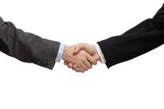 Affärsmän som skakar händer som isoleras på vit Royaltyfri Bild