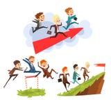 Affärsmän som tillsammans övervinner hinder till att uppnå målen, teamwork, affär, vektor för begrepp för karriärutveckling vektor illustrationer