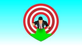 Affärsmän tränger igenom målflyg i himlen vektor illustrationer