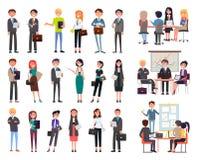 Affärsmöte, arbetare för folkseminariumkontor royaltyfri illustrationer