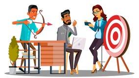 Affärsmöte, den Team Meeting And One Employee skyttet på målvektorn isolerad knapphandillustration skjuta s-startkvinnan vektor illustrationer