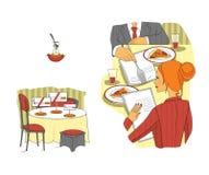 Affärsmöte i restaurangen lunch för upplagan för affärskaffekoppen öppnade behändig över lägen etikett Samtal för lunch Teknologi royaltyfri illustrationer