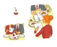 Affärsmöte i restaurangen lunch för upplagan för affärskaffekoppen öppnade behändig över lägen etikett Samtal för lunch Teknologi stock illustrationer