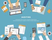 Affärsmöte, revision, beräkning, dataanalys, anmäla som redovisar Folk på arbete Människahänder på en tabell med dokument vektor illustrationer