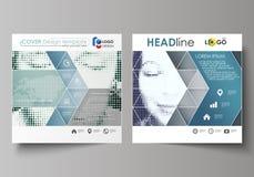Affärsmallar för den fyrkantiga designbroschyren, tidskrift, reklamblad, häfte Broschyrräkning, abstrakt vektororientering raster vektor illustrationer