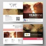 Affärsmallar för fyrkantig designbi viker broschyren, reklambladet, häfte Broschyrräkning, abstrakt vektororientering romantiker stock illustrationer