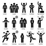 Affärsman Attitude Personalities Characters Cliparts stock illustrationer