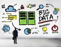 Affärsman Big Data Management som upp ser begrepp Arkivbilder