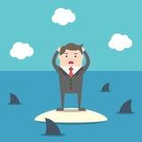 Affärsman bland hajar vektor illustrationer