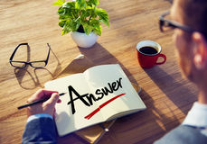 Affärsman Brainstormingwith Answer Concept Royaltyfria Bilder