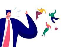 Affärsman Call Team Run Away From Office Slut av daghelgbegreppet Framstickande Character Scream Alarm som ska bemannas stock illustrationer