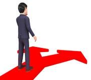Affärsman Deciding Represents Course välja och beslut stock illustrationer