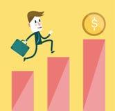 Affärsman efter ett mynt till överkanten av tillväxtdiagrammet av vinster Arkivbild