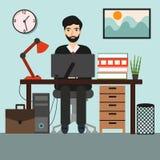 Affärsman eller en kontorist på det arbetande kontorsskrivbordet vektor illustrationer