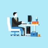 Affärsman- eller för kontorsarbetare sammanträde på stol och arbete med datoren vektor illustrationer