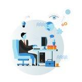 Affärsman- eller för kontorsarbetare sammanträde på stol och arbete med datoren Affärsidévektorillustration i lägenhet royaltyfri illustrationer