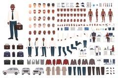 Affärsman- eller för kontorsarbetare skapelsesats Samling av plana manliga kroppsdelar för tecknad filmtecken, ansikts- gester so royaltyfri illustrationer
