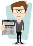 Affärsman eller revisor med en räknemaskin, royaltyfri illustrationer