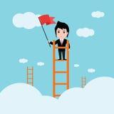 Affärsman, en stege som är företags av framgång Arkivbilder