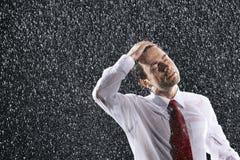 Affärsman Enjoying The Rain royaltyfria foton
