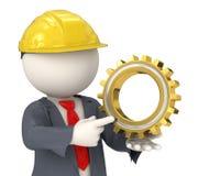 affärsman för konstruktör som 3d rymmer ett kugghjul Royaltyfria Foton