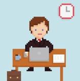 Affärsman för kontor för illustration för vektorPIXELkonst royaltyfri illustrationer