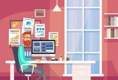 Affärsman för kontor för mansammanträdeskrivbord idérik stock illustrationer